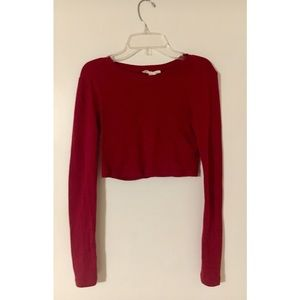 Deep red long-sleeved sexy crop top!